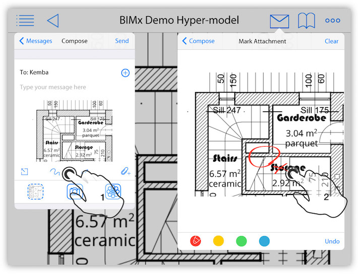 annotate pictures with free hand redlining in BIMx BIMcloud communication