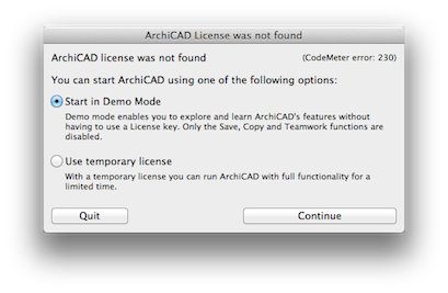 ArchiCAD license was not found