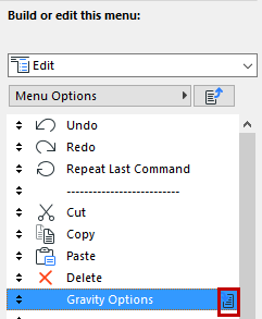 Menu Customization Dialog Box | User Guide Page | GRAPHISOFT Help Center